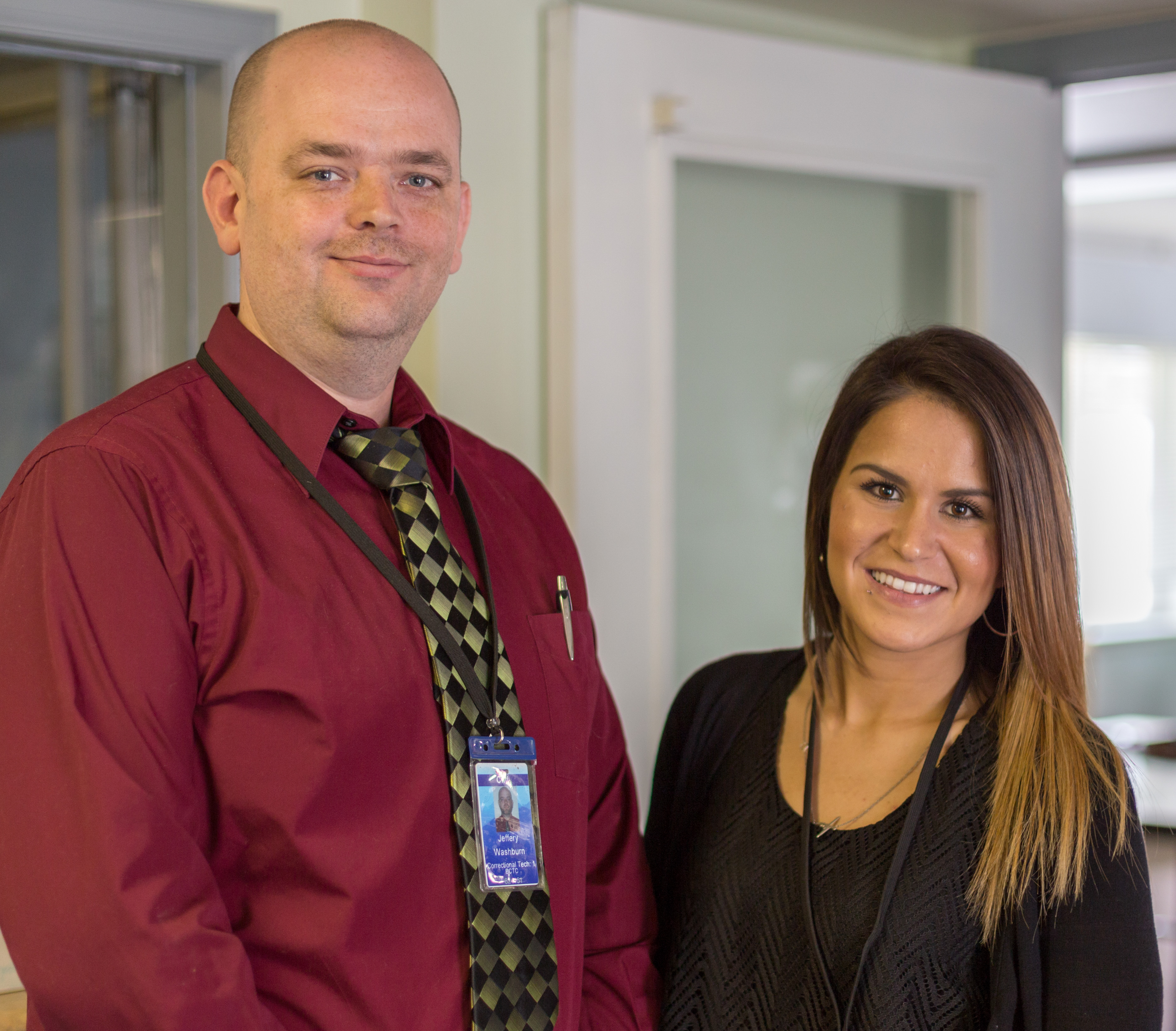Correctional Techs Jeffrey Washburn and Alyssa Miller work at the CMI Boulder Community Treatment Center