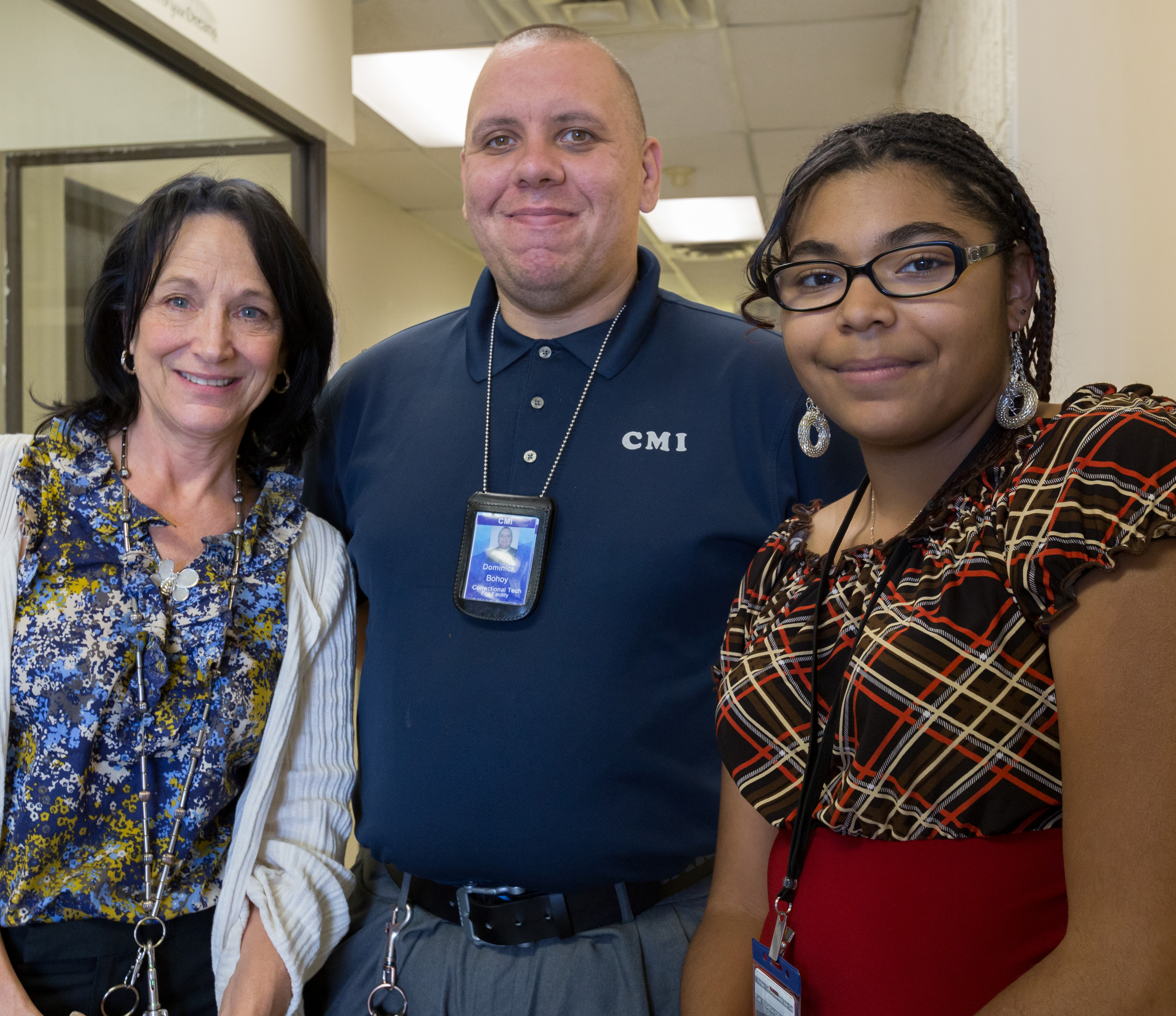 Correctional Techs Cynthia Haskins, Dominick Bohoy and Sierra Lucero work at the CMI Fox Facility