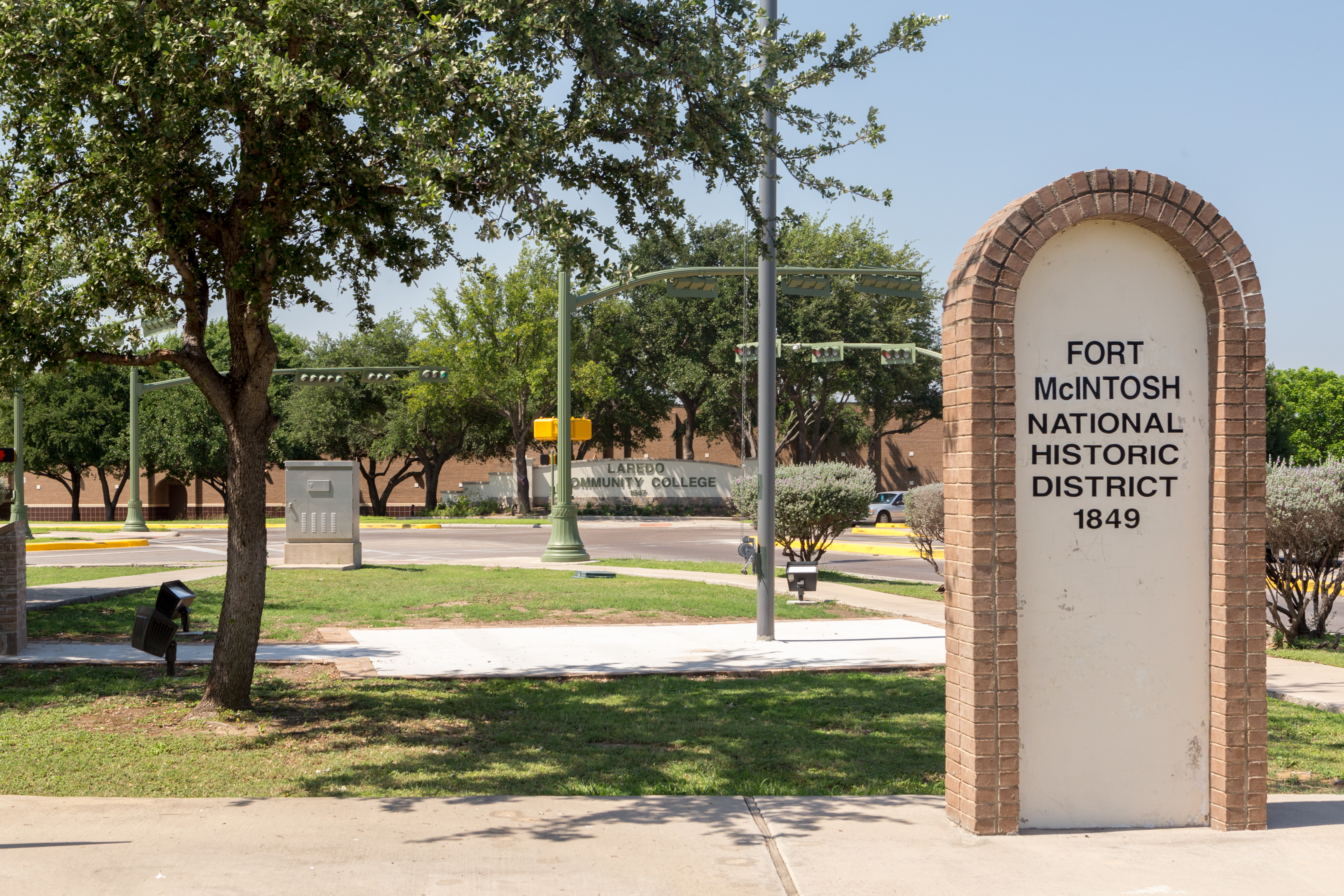 Fort McIntosh is remembered by this marker stone in Laredo. The fort existed from 1849 to 1946 and was once home to the famous Buffalo Soldiers and was used during World War I for training. The local community college now resides in the location the fort once occupied.
